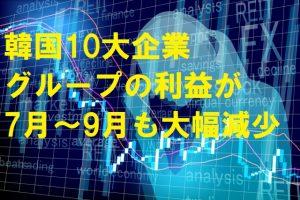 韓国10大企業グループの営業利益が7月~9月も大幅減少