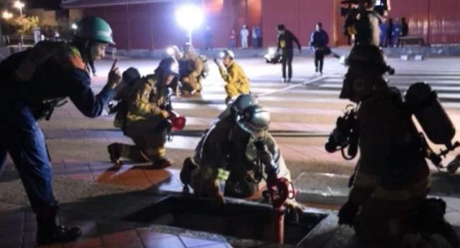 首里城夜間防災訓練