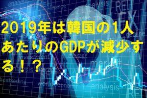 【韓国の反応】2019年は韓国の1人あたりのGDPが減少する!?