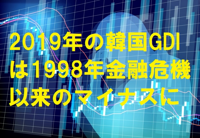 2019年の韓国GDIは1998年金融危機以来のマイナスに
