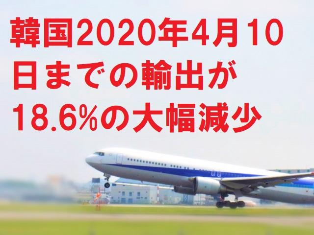 韓国2020年4月10日までの輸出が18.6%の大幅減少